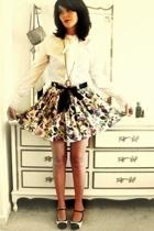 white vintage blouse - black accessories - white vintage skirt