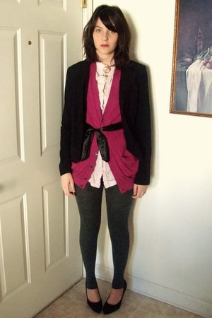 black A Byer blazer - pink blouse - pink harbor district vintage vest - gray Exp