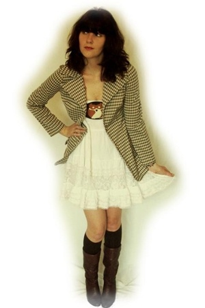 vintage blazer - vintage sam levine paris belt - Rue 21 dress - stockings - vint