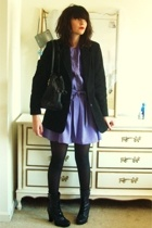 black Qupid boots - purple leslie fay dress - black Lord & Taylor blazer