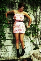 black Qupid boots - pink romper harbor district vintage shorts