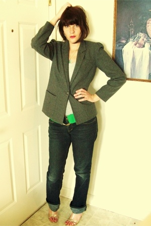 vintage chaus blazer - vintage top - Ralph Lauren belt - jeans - shoes