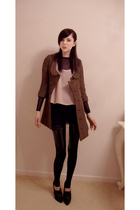 beige Topshop top - brown made by family friend coat - black American Apparel dr