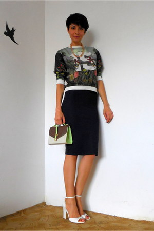 navy Zara skirt - chartreuse combined Orsay bag