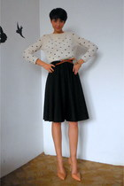 black vintage skirt - off white cropped Zara sweater - nude Zara pumps