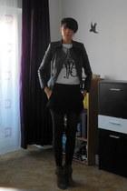 dark brown suede ankle Zara boots - black leather biker Zara jacket