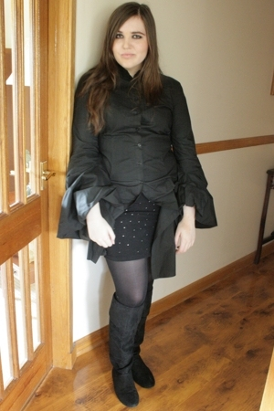 All Saints shirt - H&M skirt - Matalan boots - Fortunata coat