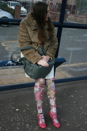 new look jacket - vintage dress - River Island tights - Primark shoes - Topshop