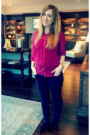 magenta H&M blouse