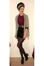 gray Topshop cardigan - black Topshop skirt - silver Ravel shoes - red Oasis blo