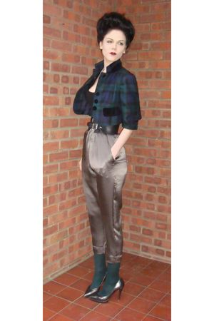 silver Louise Amstrup at ASOS pants - silver Ravel shoes - green Moschino jacket