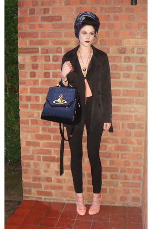 pink asos shoes - black vivienne westwood bag - pink H&M vest - blue Topshop car
