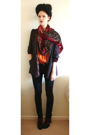 red River Island scarf - brown Topshop coat - orange Marks and Spencers blouse -