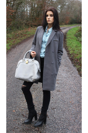 black Zara boots - heather gray asos coat - black Zara jeans - All Saints shirt