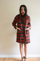 ruby red toggle buttons Vintage Plaid Coat coat