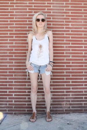 off white Cinder & Salt shirt - sky blue denim shorts Levis shorts