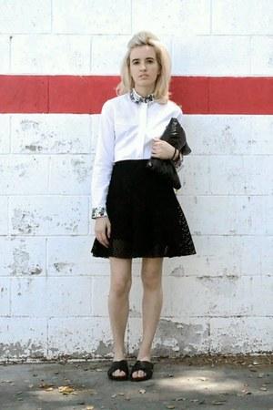 white button down Topshop shirt - black clutch SANDRO bag