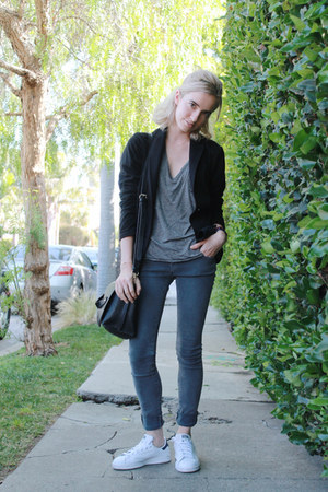 gray skinny jeans Kill City jeans - black cotton Uniqlo blazer - black Zara bag