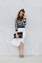 black tartan SANDRO sweater - black clutch SANDRO bag - white Topshop skirt