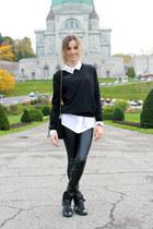 black wool Uniqlo sweater - black faux leather Zara leggings