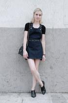 black awesome H&M boots - navy Topshop dress - black vintage bag Chanel bag