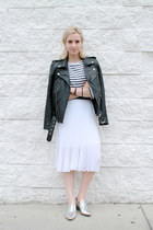 black leather jacket PeleCheCoco jacket - white striped Bogner shirt