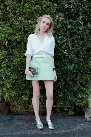 aquamarine mod courreges skirt - white button down Uniqlo shirt