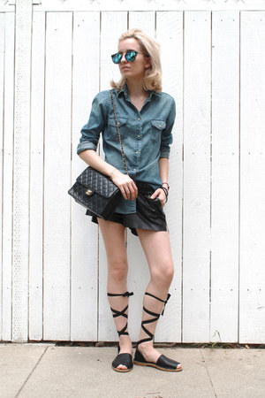 black faux leather H&M shorts - blue denim shirt Uniqlo shirt