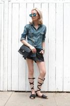 black faux leather H&M shorts - blue denim shirt Uniqlo shirt