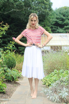 red striped Forever 21 shirt - leggings - white midi Topshop skirt