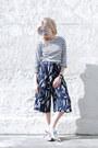 White-striped-ll-bean-shirt-navy-culottes-topshop-shorts