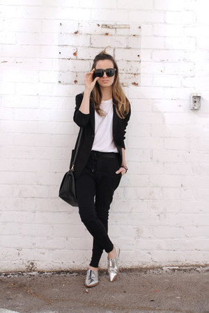 black giveaway Polette sunglasses - black cotton Uniqlo blazer - black Zara bag