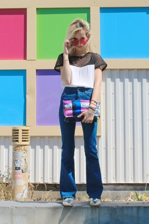 SANDRO bag - blue flares Topshop jeans - hot pink round Polette sunglasses
