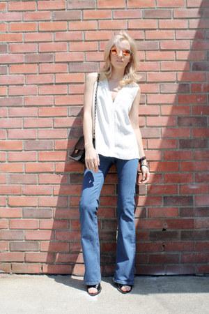 black vintage bag Chanel bag - sky blue flared Topshop jeans