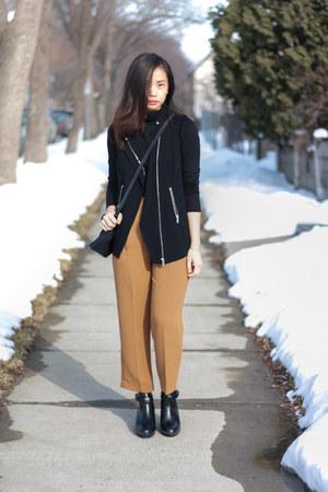 black Zara shoes - black Mackage bag - black Babaton vest - black Babaton top