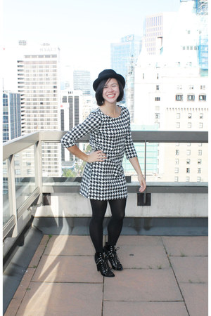 black H&M dress - black Alexander Wang boots - black H&M hat