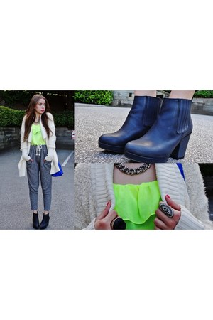 black Topshop boots - blue Marc Jacobs bag - lime green the bay blouse