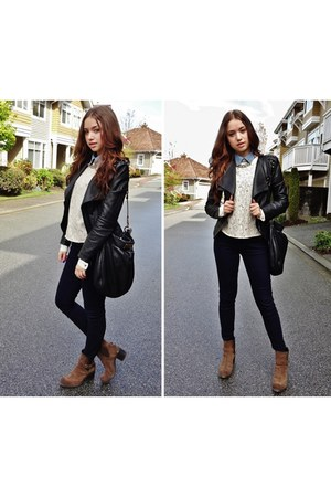 lace blouse Topshop blouse - Browns boots - leather jacket Forever 21 jacket