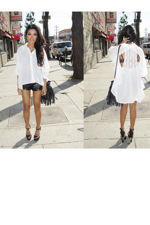 black fringe bucket H&M bag - black leather Forever21 shorts - black gradient Mi