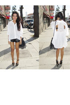 black fringe bucket H&M bag - black leather Forever21 shorts - black gradient Mi