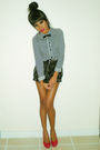 Black-joyce-leslie-shorts-black-h-m-shirt-red-blossom-collection-shoes
