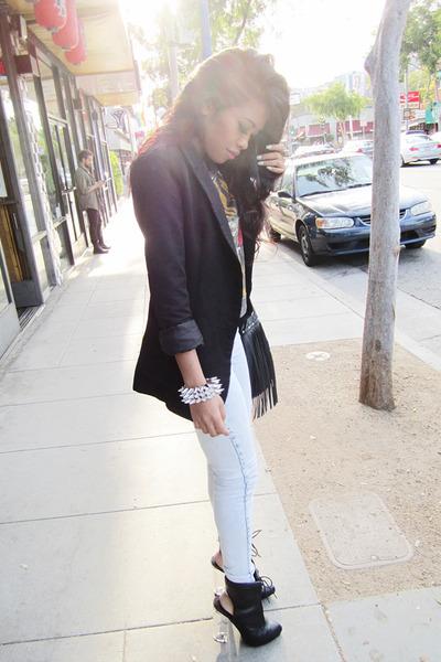 black asos boots - black boyfriend Topshop blazer - black fringe bucket H&M bag