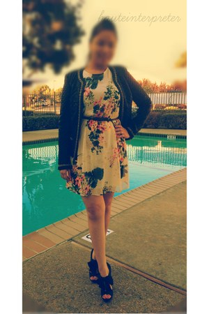 black Forever 21 jacket - ivory floral Forever 21 dress