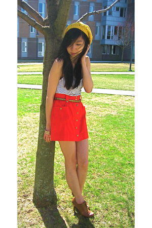 random NYC boutique top - Forever 21 skirt - yellow Forever 21 hat
