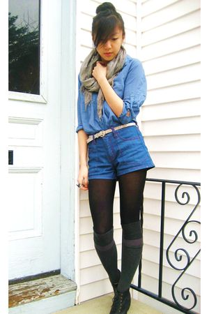 gray American Eagle scarf - blue Forever 21 blouse - silver Urban Outfitters bel