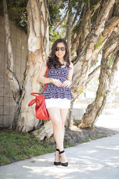 black Vaunt sunglasses - red V Couture by Kooba bag - white True Religion shorts