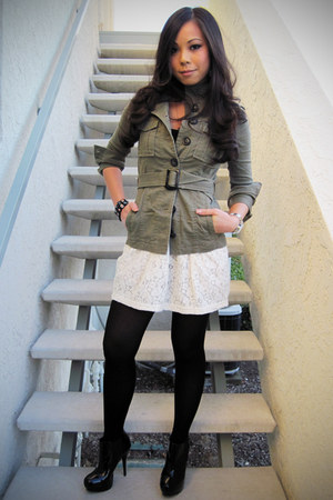 olive green H&M jacket - cream Forever 21 skirt - black Forever 21 tights - blac
