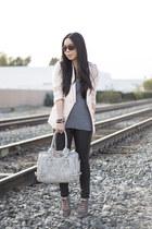 linen H&M blazer - Bleulab jeans - fredericks of hollywood bag