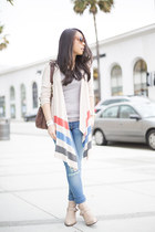 beige Left on Houston cardigan - neutral shoemint boots - blue dl1961 jeans