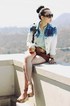 BCBG wedges - Forever 21 jacket - arrow cuff Glint & Gleam bracelet